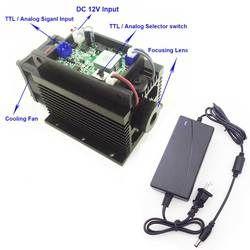 Bleu Laser 15 W Laser Machine De Gravure Focusable Haute Puissance Laser Module 450nm TTL/Analogique avec Alimentation CNC graveur Cutter