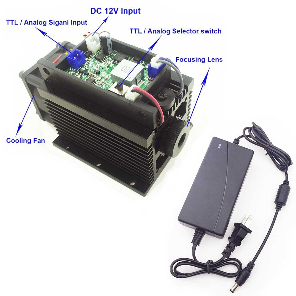 Powerful Laser Head 15W 15000mW Laser Engraving Machine High Power Laser Module Blue 450nm TTL/PWM Cutter Engraver CNC Cut Diy