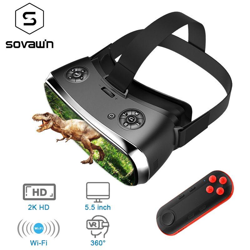 Sovawin 2 Karat HD Wifi Alle In Einem VR Hdmi Headset 3D Smart Brille Virtuelle Realität Immersive Goggle Karton VR Helm 5,5