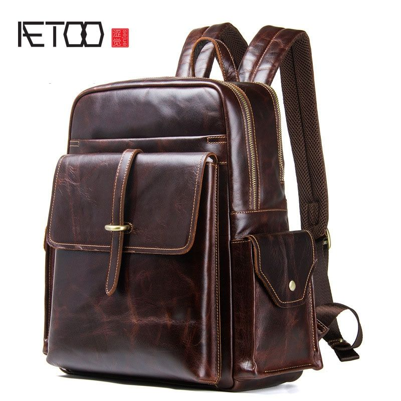 AETOO New men's shoulder bag leather retro backpack European and American crazy horse leather men's bag