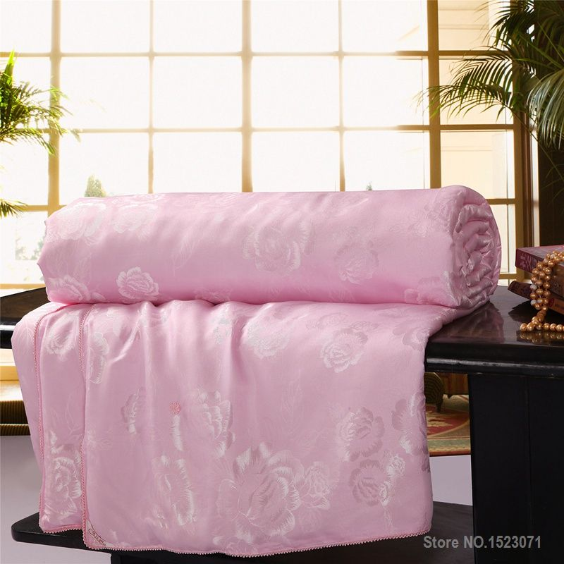 100% mulberry silk blanket/quilt/comforter for winter/summer king/queen/twin size white and pink handwork duvet fast shipping