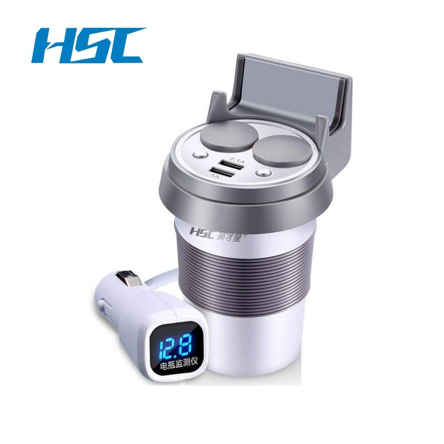 Brand HSC 12-24V 3.1A Output USB Car Charger &Voltage Breaker Quick Charge Car Cup Holder Car Cigarette Lighter Socket Adapter