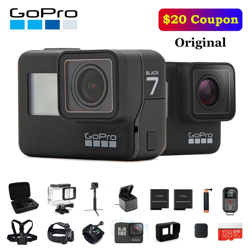 Original GoPro Action Kamera HERO 7 Schwarz 4K 60fps 1080P 240fps video Gehen Pro Sport cam 12MP Foto wifi Live Streami Hyper Glatt