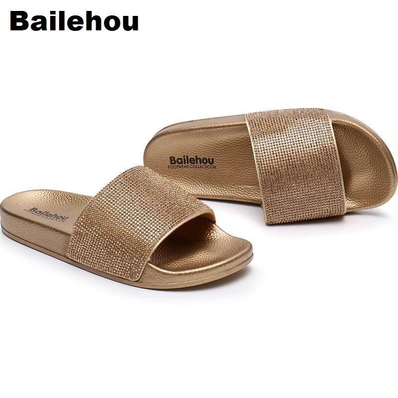 Bailehou Women Slippers Flat Women Casual Shoes Crystal Slip On Slides <font><b>Bling</b></font> Beach Flip Flops Sandals Brand Home Indoor Slippers