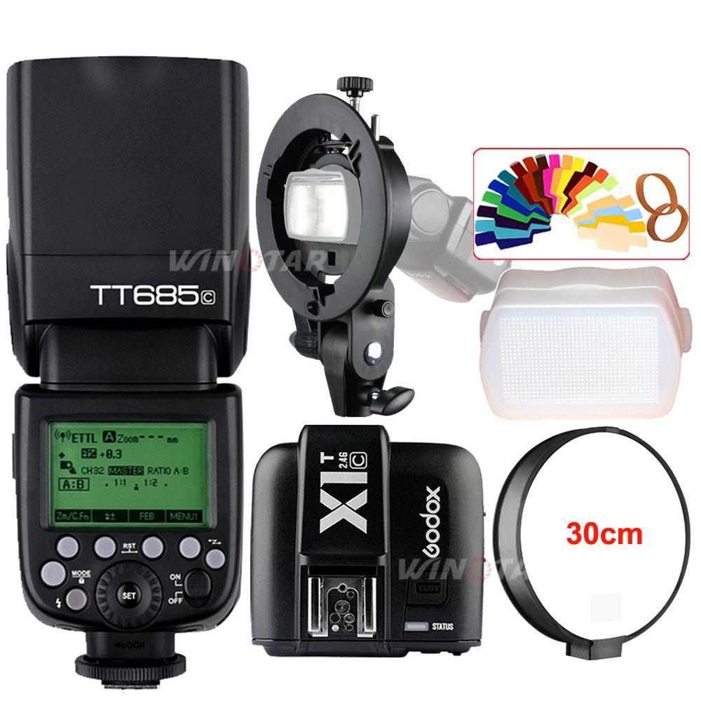 Godox TT685C 2.4G Wireless HSS 1/8000s E-TTL II Camera Flash Speedlite + X1T-C Trigger + Bowens Bracket for Canon DSLR Cameras
