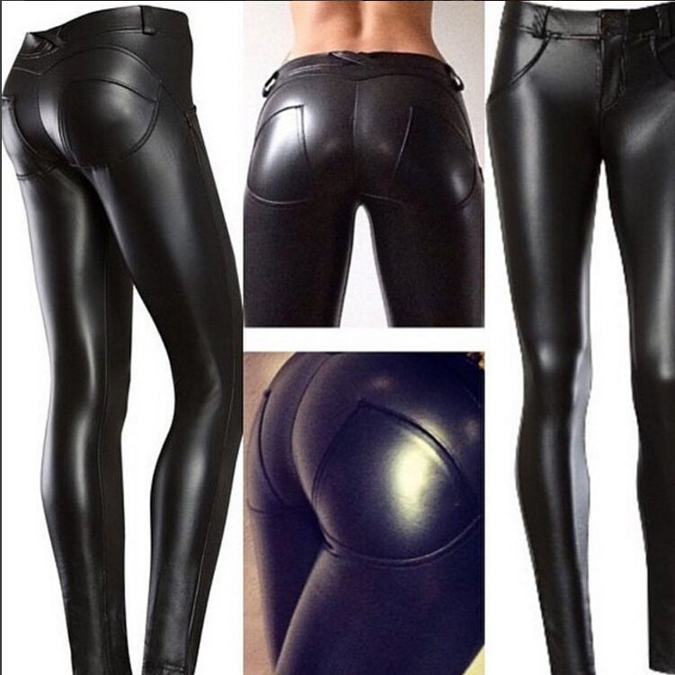 large booty high Elast PU Leather cakey Panty women fitness leggins Mid Waist trousers