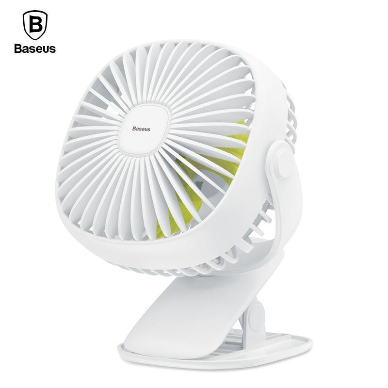 Baseus Mini USB Fan On Desktop/Clip Fan For Office Home Portable Electric Fan 2000mAh Rechargeable Cooling Fan With Lighting