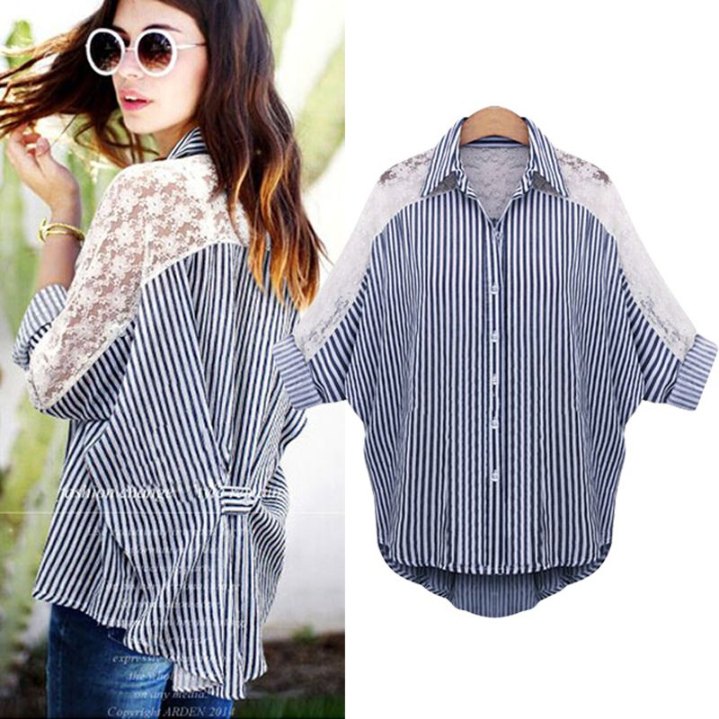 2017 Spring Batwing Sleeve Plus Size Patchwork Lace Striped Loose Women Shirt Blouse Chic vertical Camisa femininaTops Clothing