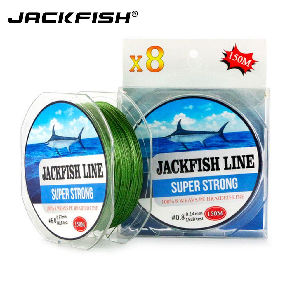JACKFISH 8 brins 150 m Super Strong PE Ligne de Pêche Tressée 10-80LB Multifilament Ligne De Pêche Pêche À La Carpe D'eau Salée