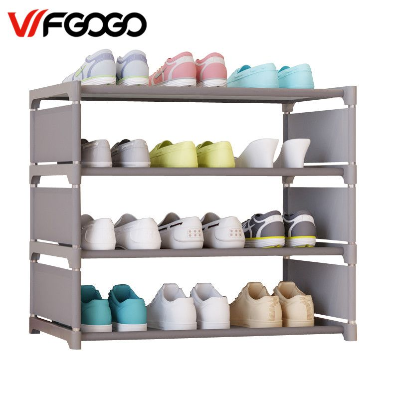 WFGOGO Simple Shoe Cabinets Ironwork Multi-layer Assembly of Shoe Rack with Modern Simple Dustproof Shoe Cabinet 50cm Hight