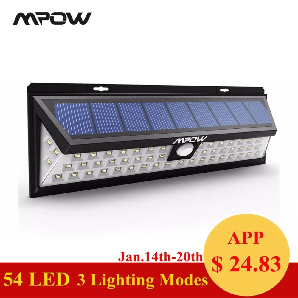 Mpow CD020 54 LED Night Light <font><b>IP65</b></font> Waterproof Solar Lights Wide Angle LED Solar Powered Lamp Outdoor For Garden Wall Yard Patio
