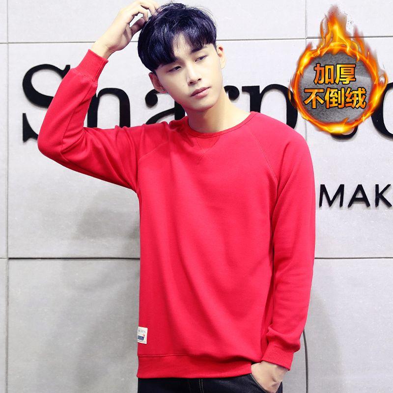 Male plus velvet sweatshirt boys autumn and winter thickening cap bf outerwear boy trend loose