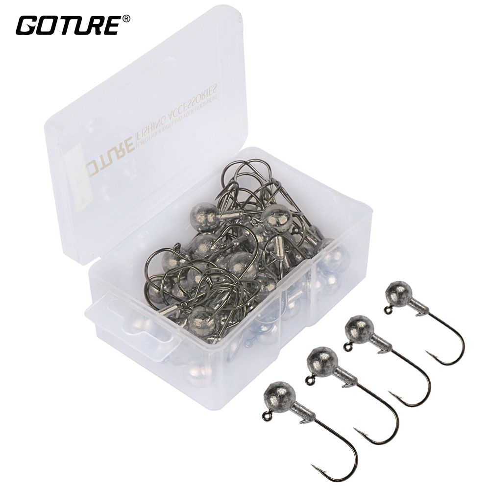Goture 20/50pcs Lead Jig Head Fishing Hook 1g - 20g Jig Hooks For Soft Fishing Lure Carbon Steel Fishhooks