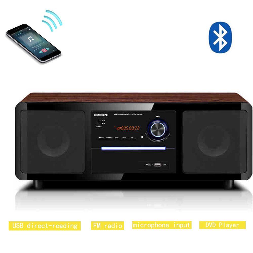 Bluetooth Musik CD Player Fernbedienung Hifi Lautsprecher FM Radio Tragbare 2,0 Heimkino Sound System mit Mikrofon Eingang