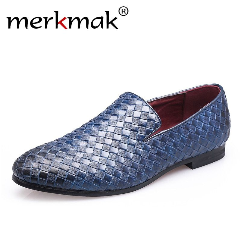 Merkmak 2018 Men Shoes luxury Brand Braid Leather Casual Driving Oxfords Shoes Men Loafers Moccasins Italian Shoes for Men Flats