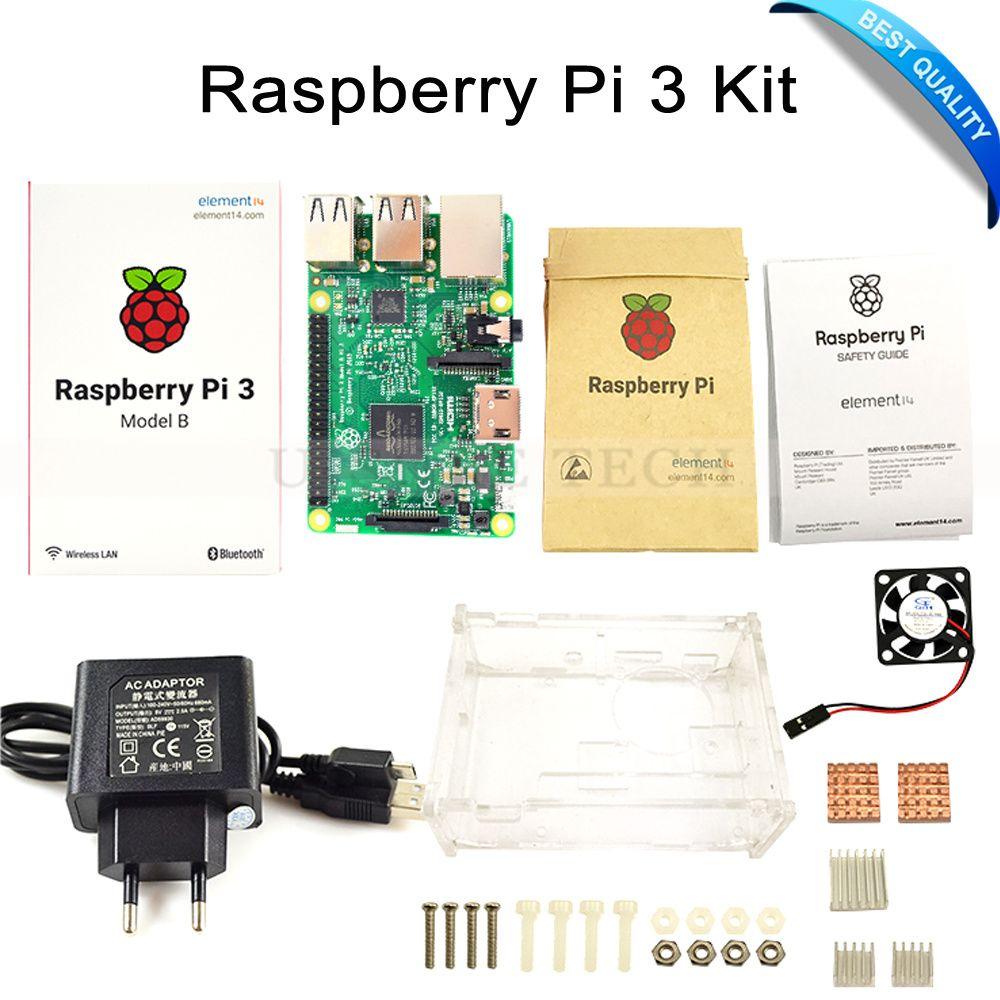 Raspberry Pi 3 Model B Board +Raspberry Pi3 Case +Power Plug(EU &US)+Heat Sinks