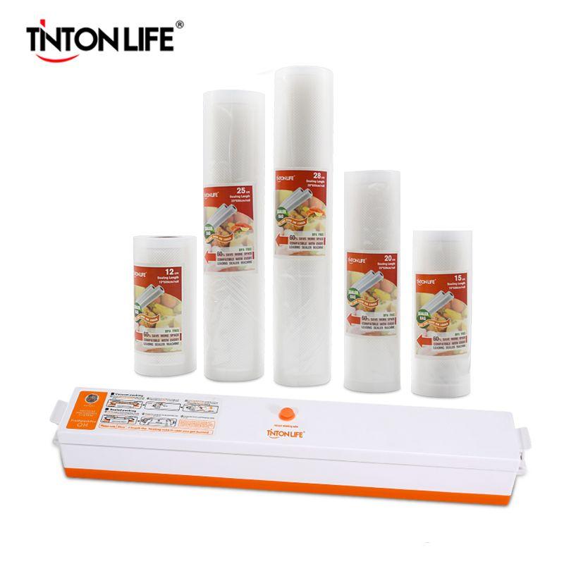 TINTON VIE Vide Alimentaire Scellant Avec 5 Rolls Vide Scellant Sac (12X500 cm, 15X500 cm, 20X500 cm, 25X500 cm, 28X500 cm)
