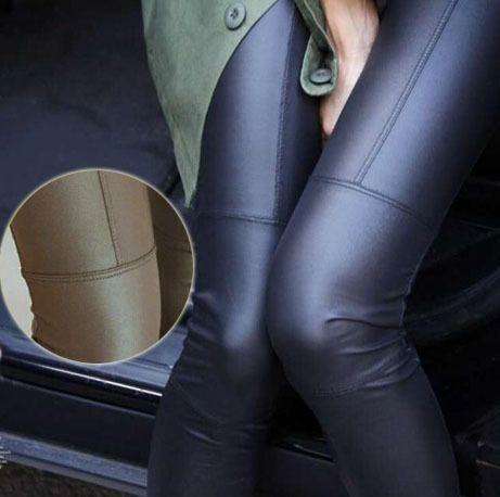 Grande Vente! 2014 Nouvelle Tendance Tricot femmes Neuf minutes de pantalon De Mode sexy Imitation cuir mince PU élastique leggings 2 Couleurs