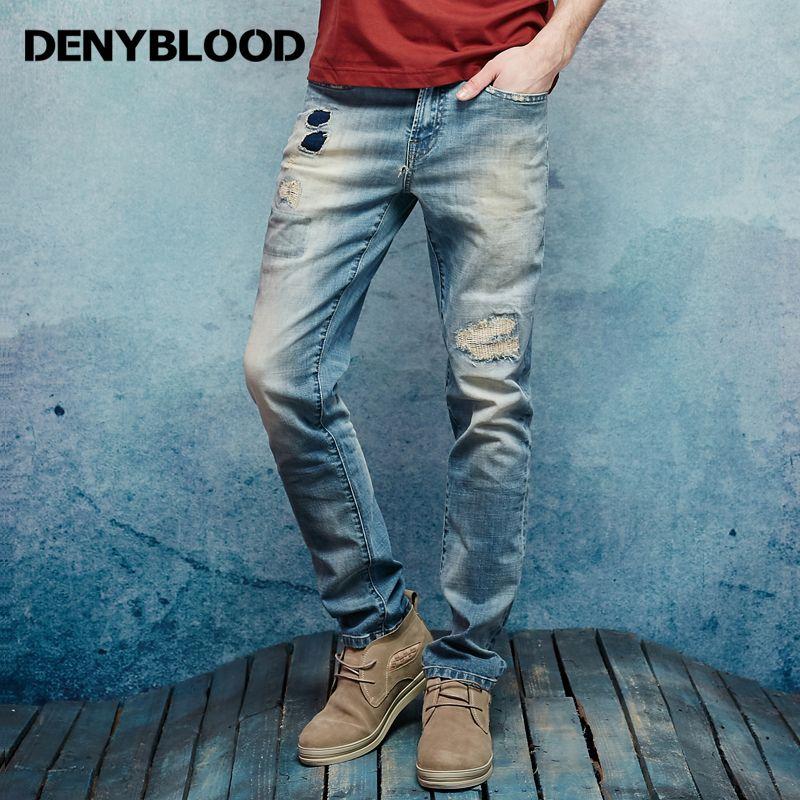 Denyblood Джинсы для женщин мужские стрейч хлопок джинсовые Мотобрюки Винтаж мыть проблемных Джинсы для женщин разорвал лоскутное тонкий прямо...