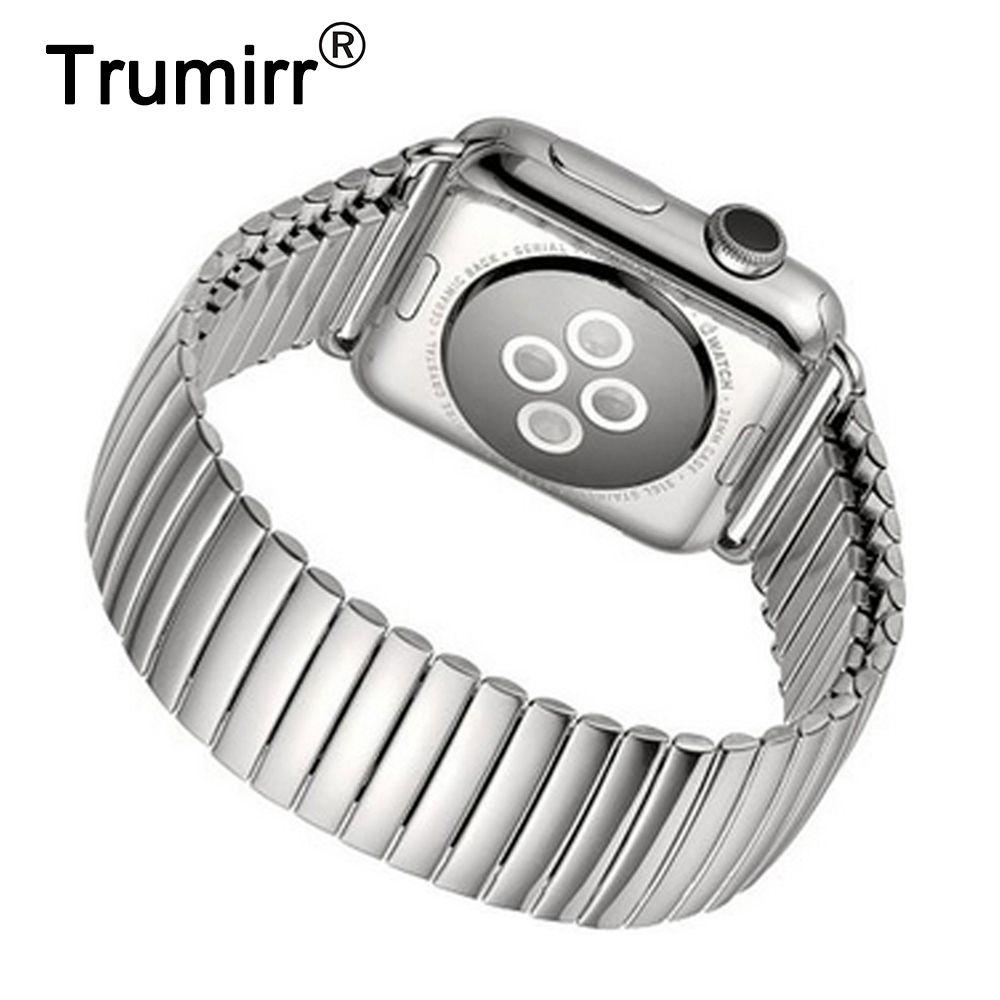 22mm 24mm Élastique Bracelet pour Apple iWatch Montre 38mm 42mm En Acier Inoxydable Bracelet de Courroie De Bande avec connecteur Adaptateur Argent
