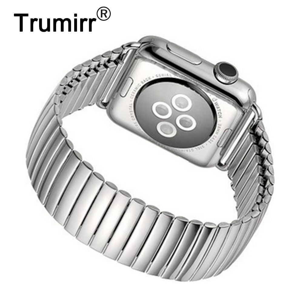 Bracelet élastique pour montre iWatch Apple 38mm 40mm 42mm 44mm série 4 3 2 1 Bracelet en acier inoxydable accessoire Bracelet en argent