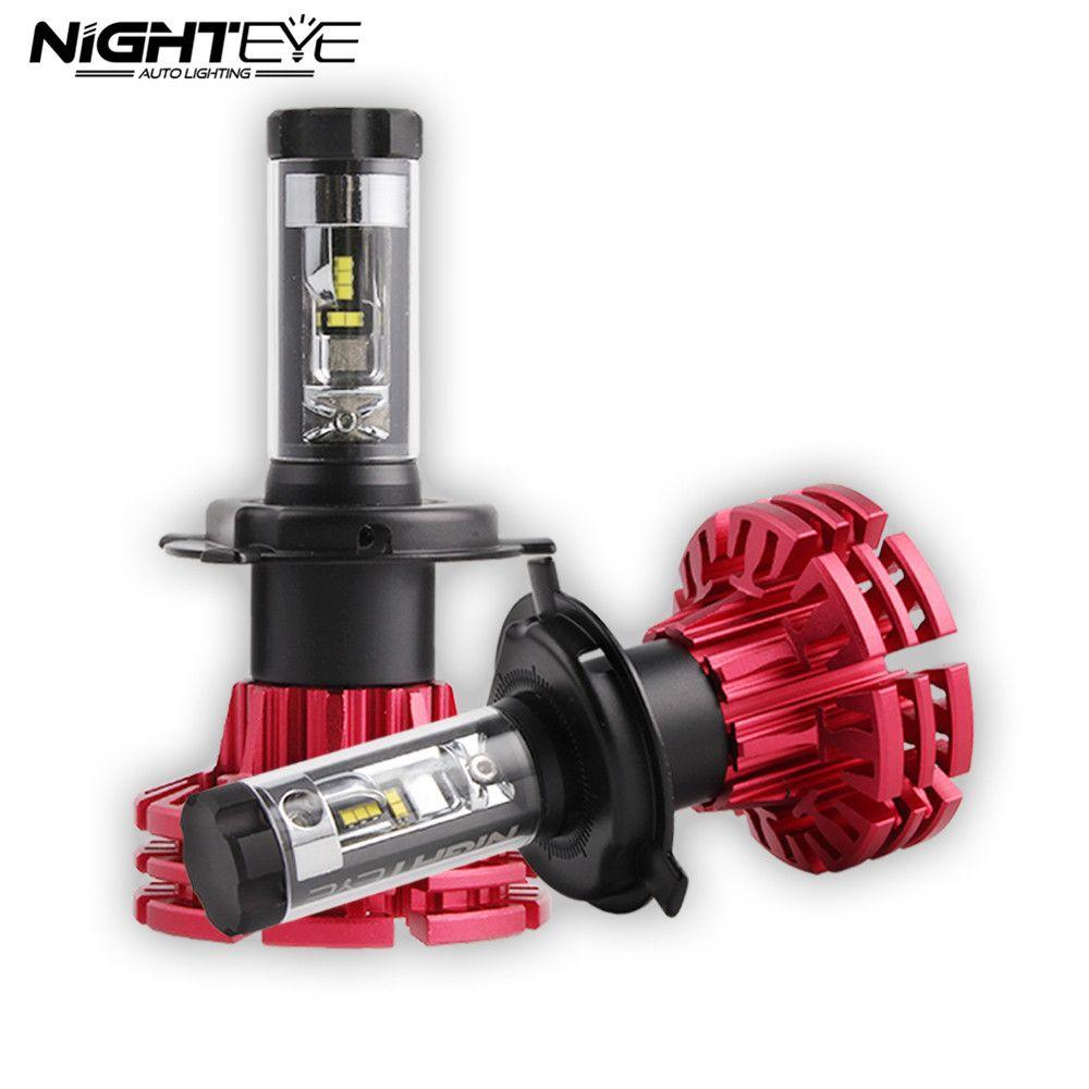 Nighteye Auto Lighting H4 HB2 9003 Car LED Headlights 60W 10000LM Hi/Low Beam Fog Lamps Bulbs 3000K 6500K 8000K D45