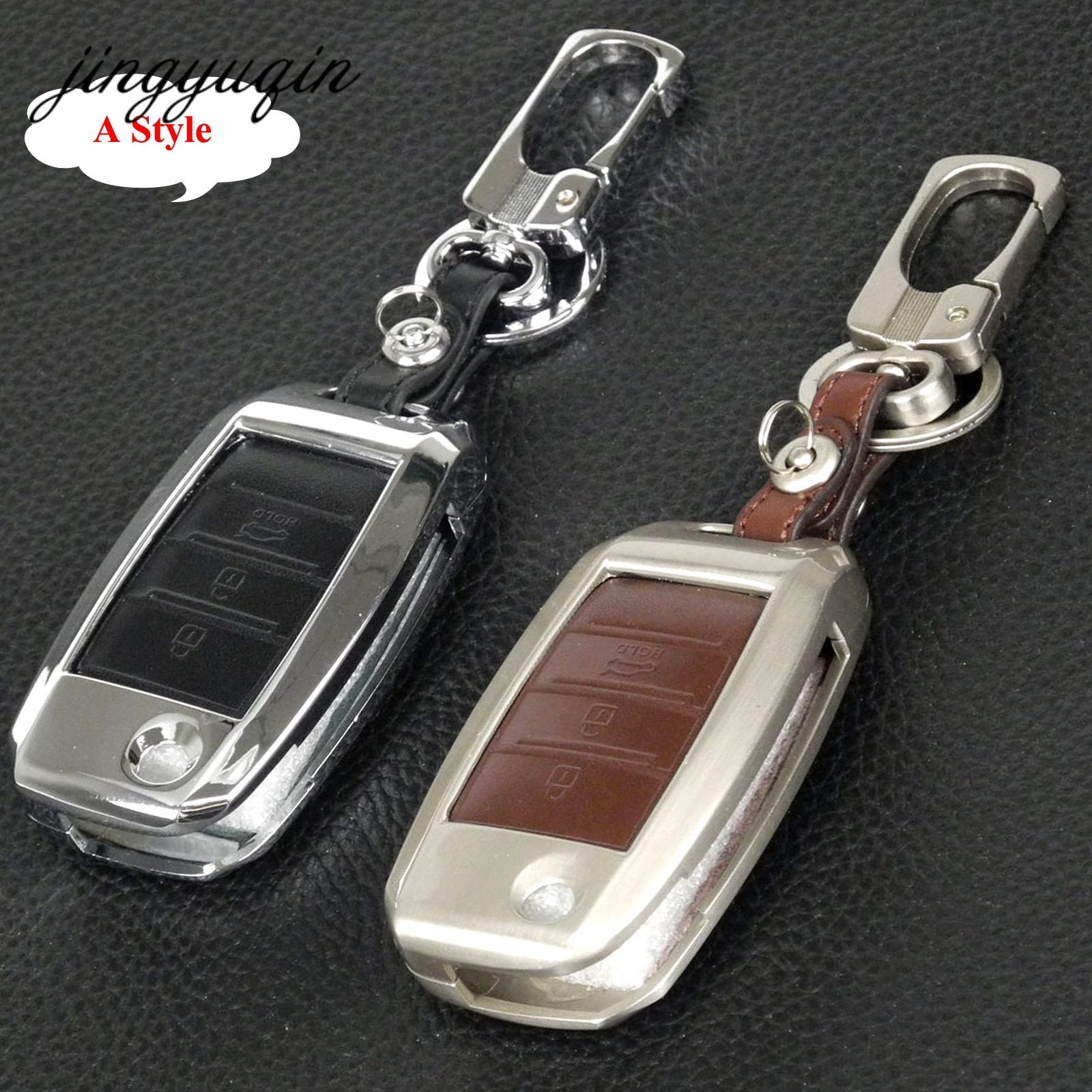 jingyuqin Car Key Fob Cover For Kia Sportage R K2 K3 K4 K5 Ceed Sorento Cerato Optima Frote Zinc Alloy Leather Key Case Chain