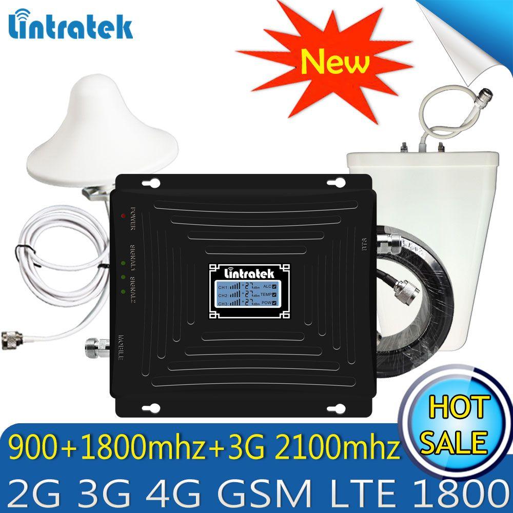 Verbesserte Lintratek 2g 3g 4g GSM Repeater 900 1800 2100 Tri-Band-Handy Signal Booster LTE cellular mobile signal Verstärker