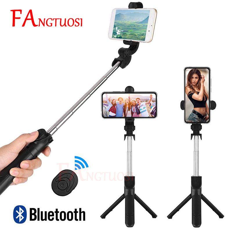 FANGTUOSI nouveau 3 en 1 sans fil Bluetooth Selfie bâton pliable poche monopode Mini trépied avec obturateur à distance pour iPhone