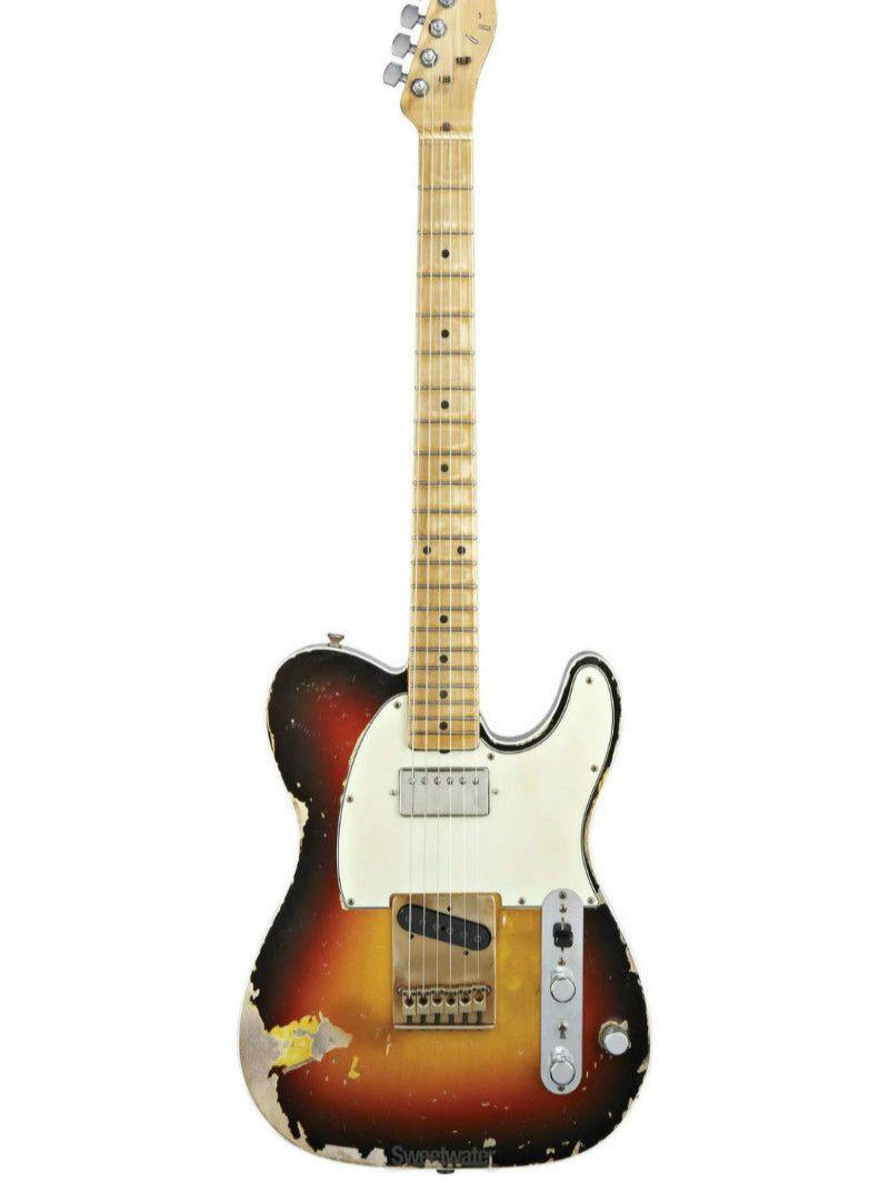 Top qualität GYTL-2055 Antike Tun Alten 3TS farbe solid body mit weiß platte ahorn griffbrett elektrische Gitarre, Freies verschiffen