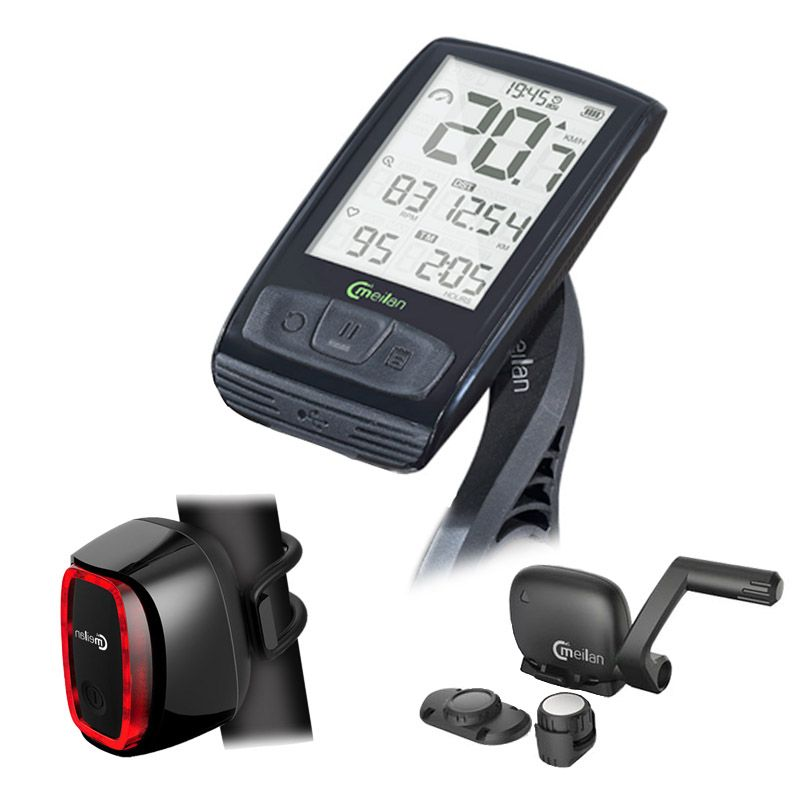 Wireless Bike Computer Bicycle Speedometer Tachometer cadence Bluetooth Sensor free Cycling taillight Light Meilan X6