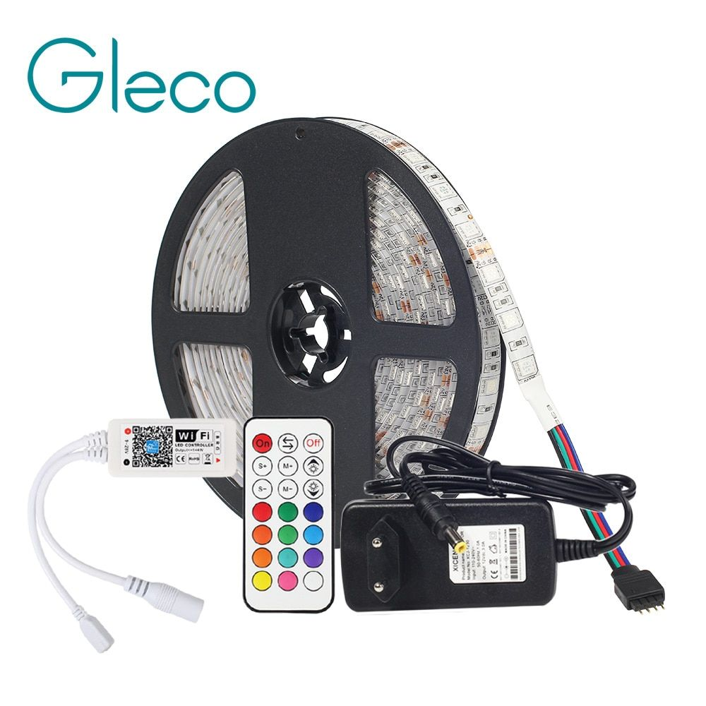 DC12V LED Strip 5050 With WiFi Controller RF Remote,3A Power Supply Adapter LED Flexible Strip Light RGB 5050 RGBW 5M 60LEDs/m