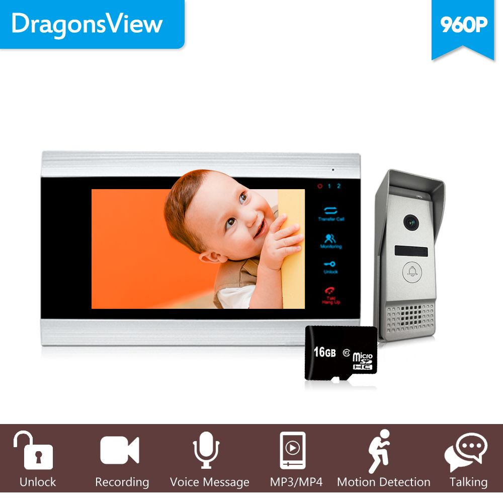 Dragonsview 7 Inch 960P HD Wired Video Intercom System bell with camera Wide Angle Motion Detection Recording Unlock Talking