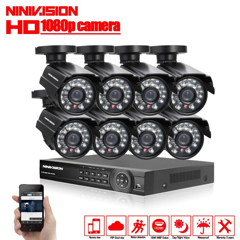 1080 p 8CH CCTV Sicherheit System 8 kanal HDMI AHD NVR DVR HD 2.0MP outdoor indoor kugel Kamera kit Video überwachung System
