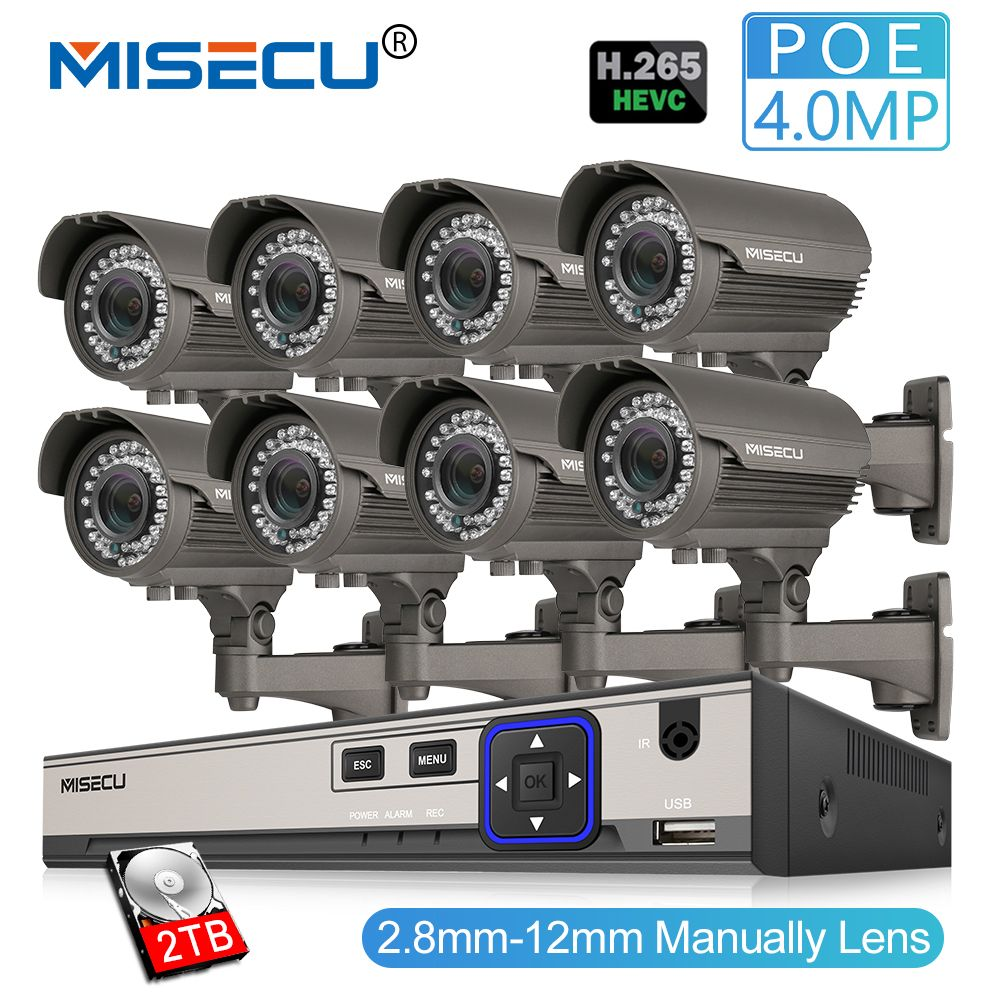 MISECU 8CH 4MP Sicherheit Kamera System H.265 POE IP Kamera 2,8-12mm Maunally Objektiv Zoom Im Freien Wasserdichte Video überwachung Kit