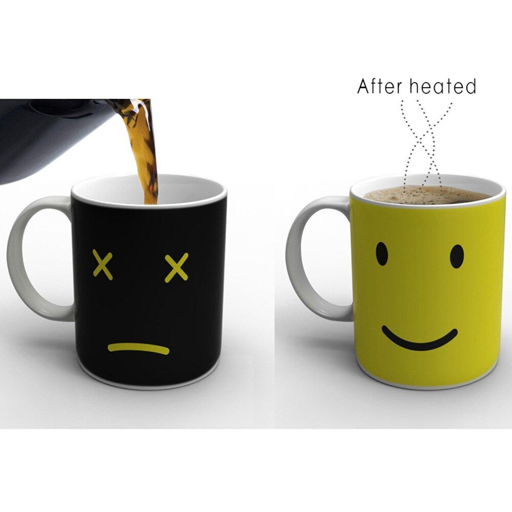 2018 Hot Sale Heat Changing Mug Color Cup Coffee Sensitive Home House Magic Tea Hot Reactive Cold Ceramic Coffee Tea Cup