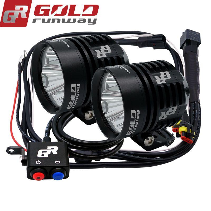 A pair GOLDRUNWAY 30IX motorcycle led head spotlight 3*U3 led chip 30W 3000lumens 3mode waterproof LED motorcycle led light