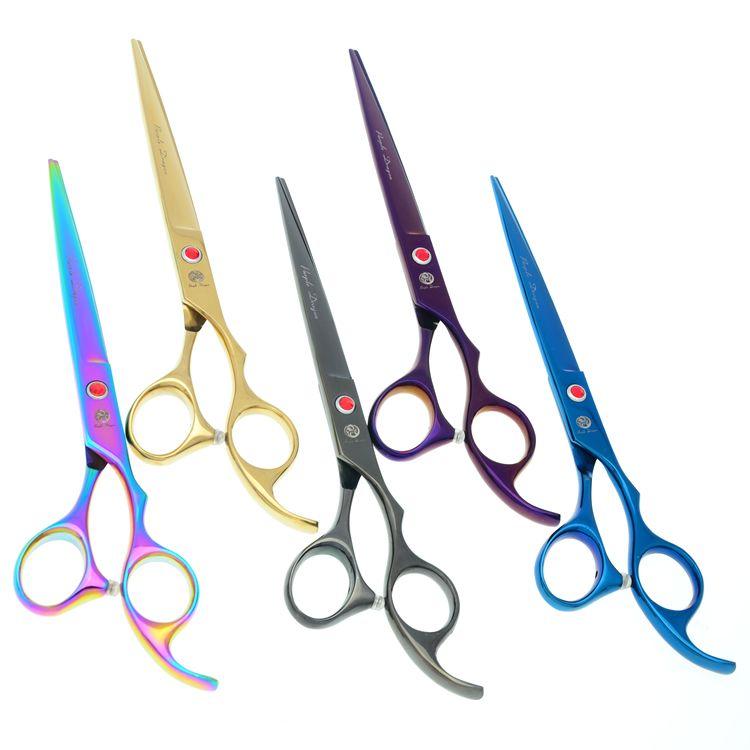 7.0 pouces gros ciseaux de coupe de cheveux pour les coiffeurs JP440C violet Dragan professionnel ciseaux à cheveux Pet toilettage Tesoura LZS0580