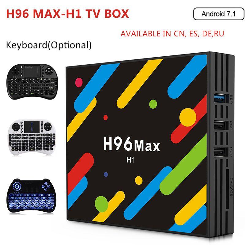 H96 MAX -H1 Android 7.1 TV Box 4GB RAM 32GB ROM Set Top Box RK3328 2.4G/5G Wifi Bluetooth 4.0 4K H.265 Media Player pk h96 pro