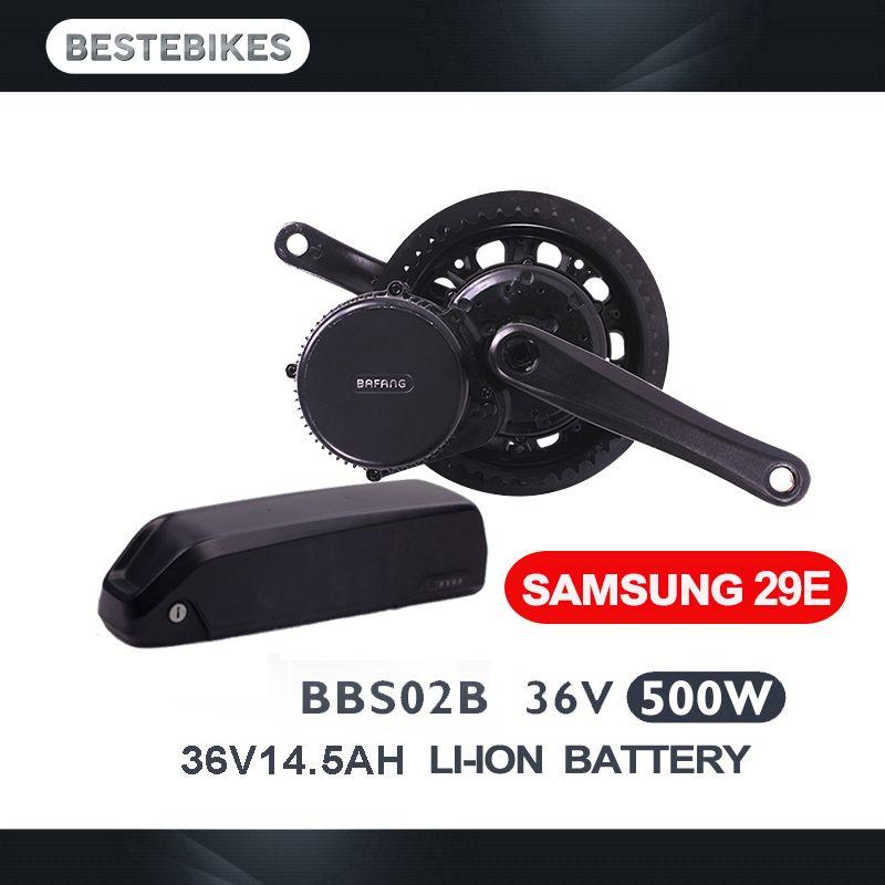 EU US Canada No tax Bafang BBS02B 500w with 36V 14.5Ah Samsung 29E lithium battery kit