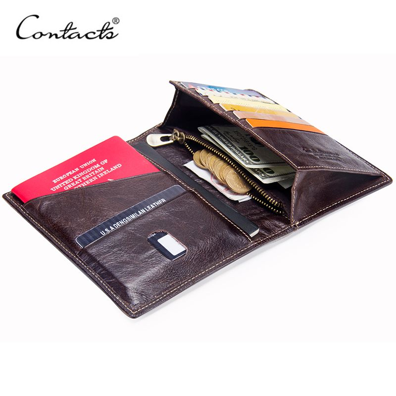 CONTACT'S Casual Genuine Leather Male Wallet Photo Holder Passport Card Holder For Travel Passport Purse With Zipper Pocket