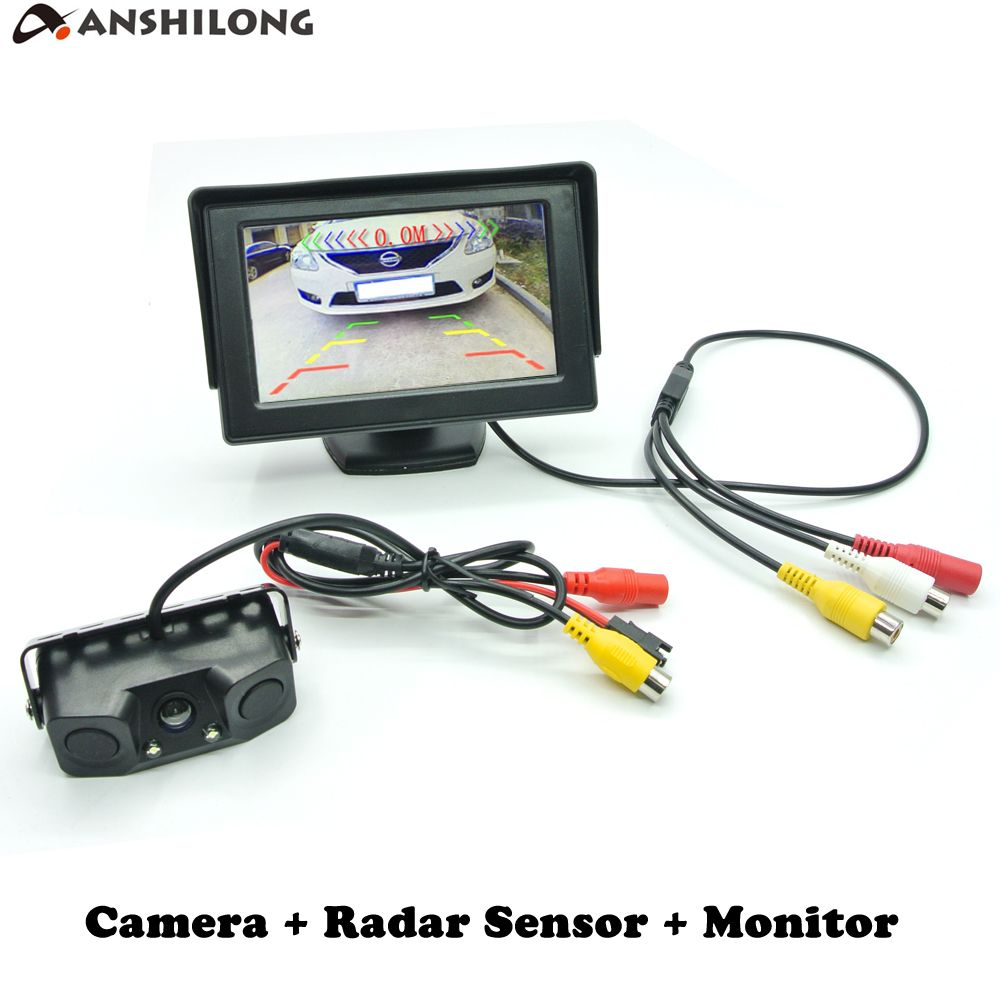 ANSHILONG Auto Car Parktronic Video Parking Sensor with Rear View Camera + 4.3
