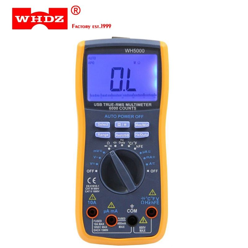 WHDZ WH5000 Digital Multimeter 5999 Counts with USB Interface Auto Range with Backlight Magnet hang AC DC Ammeter Voltmeter Ohm