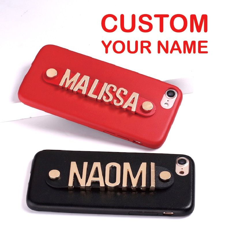 Pour iPhone 11 Pro XR 6S XS Max 7 7plus 8 8plus coque de téléphone en cuir or lettres métal luxe audacieux personnalisé nom texte