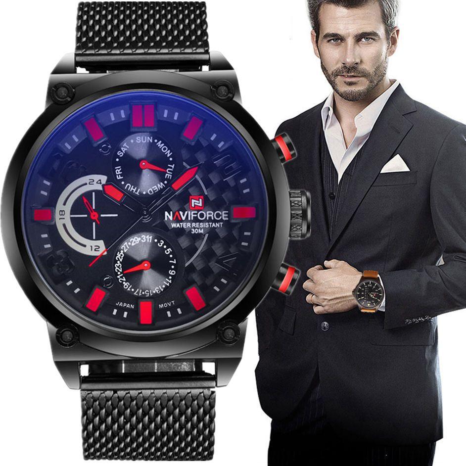 2017 männer NAVIFORCE Luxusmarke Analog Quarzuhr Mann 3ATM Wasserdichte Art Und Weise Beiläufige Sport Uhren Männer voller stahl Armbanduhr
