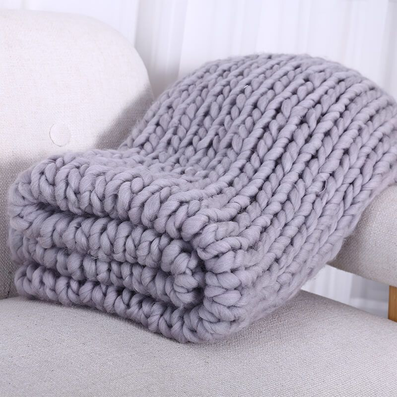 Hand Chunky Wool Knitted Blanket Thick Yarn Merino Wool Bulky Knitting Throw Blankets 200X200CM Nordic Home Textile DropShipping