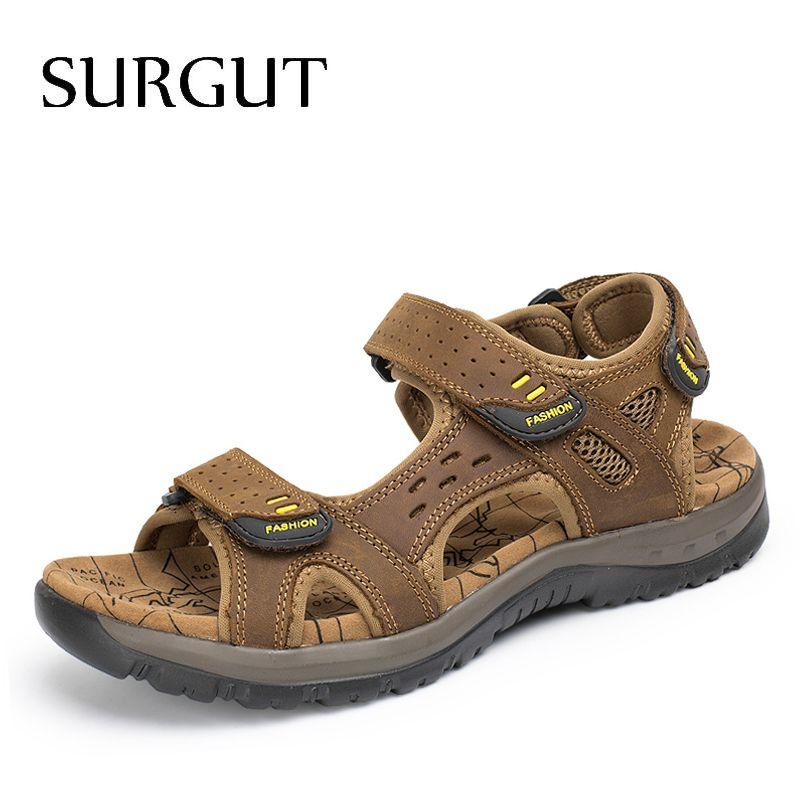 SURGUT Hot Sale New Fashion Summer Leisure Beach Men Shoes High Quality Leather Sandals The Big Yards Men's Sandals Size 38-45