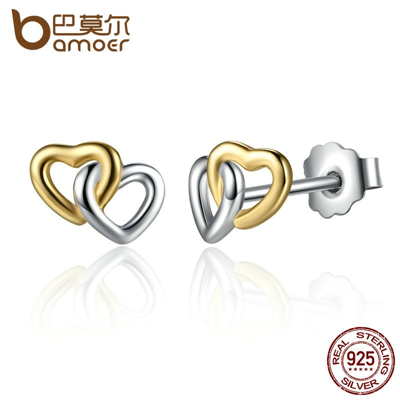 BAMOER New Arrival 925 Sterling Silver Heart to Heart Small Stud Earrings Women Engagement Jewelry PAS442