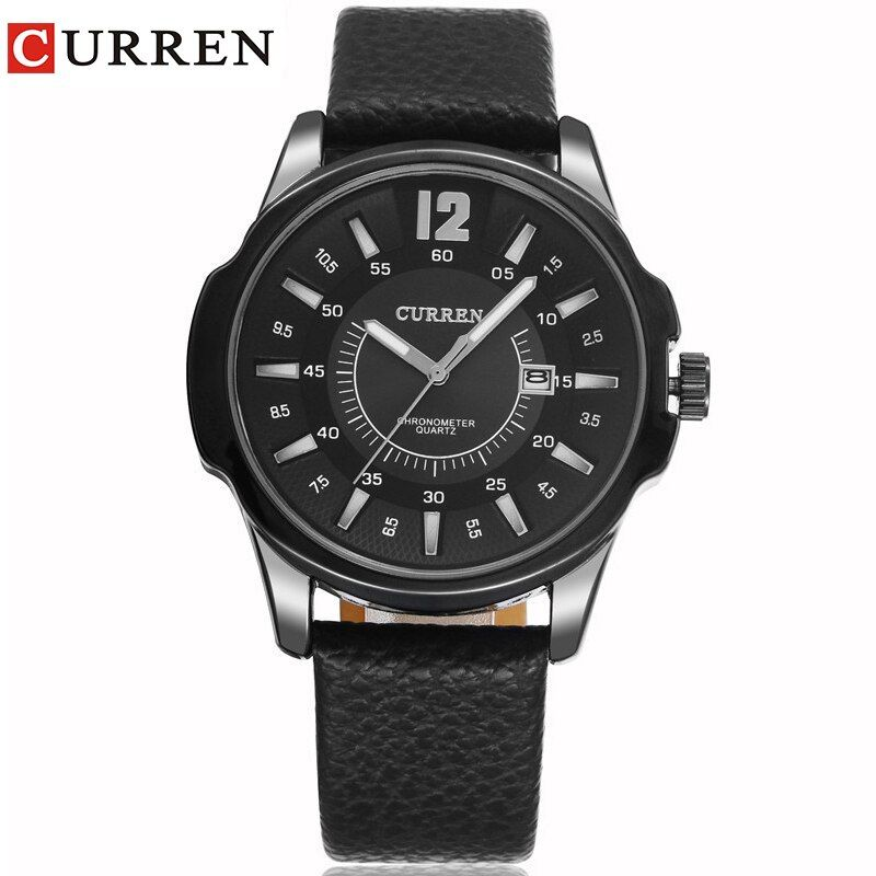 CURREN new fashion casual quartz watch men large dial waterproof chronograph releather wrist watch <font><b>relojes</b></font> free shipping 8123