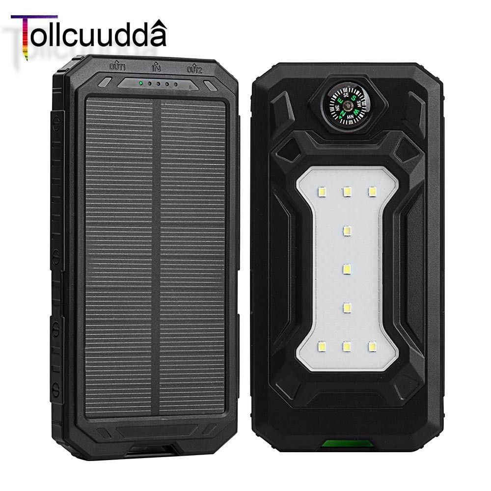 10000mAh Tollcuudda Solar Power Bank Dual USB Outdoor External Battery Portable Charger With LED Lighting and Compass Poverbank